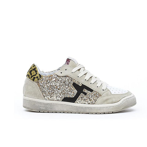 Gold glitter and leopard print trainers from Serafini