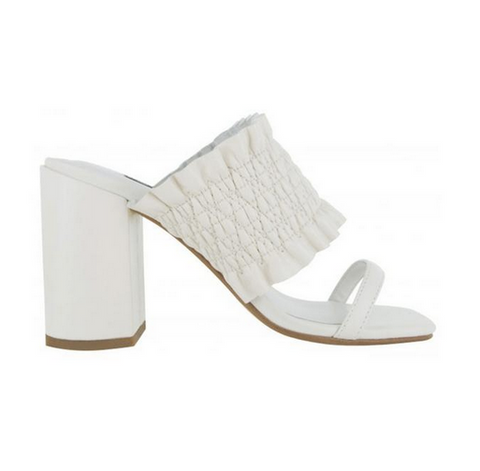 white leather mule heel sandals