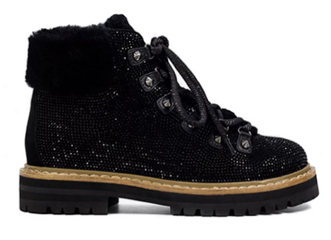 black glitter hiking boots