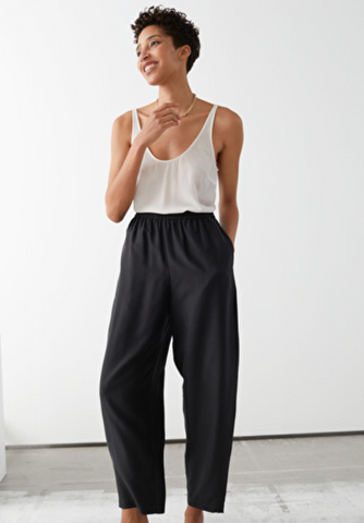 Relaxed Silk Trousers and Crepe Top