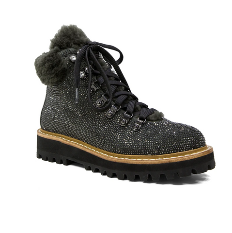 Grey glitter and faux fur flat ankle boots from Lola Cruz