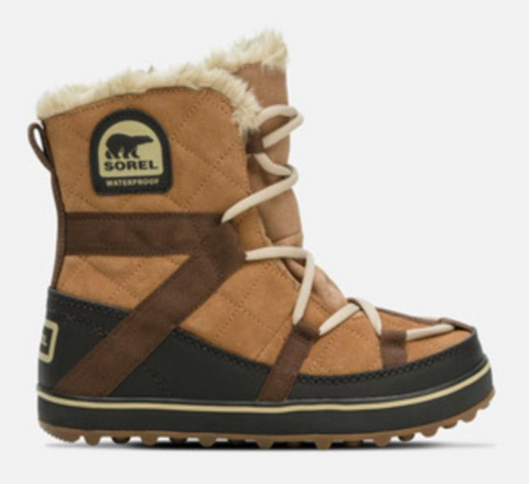 Sorel Glacey snow boot in tan and brown