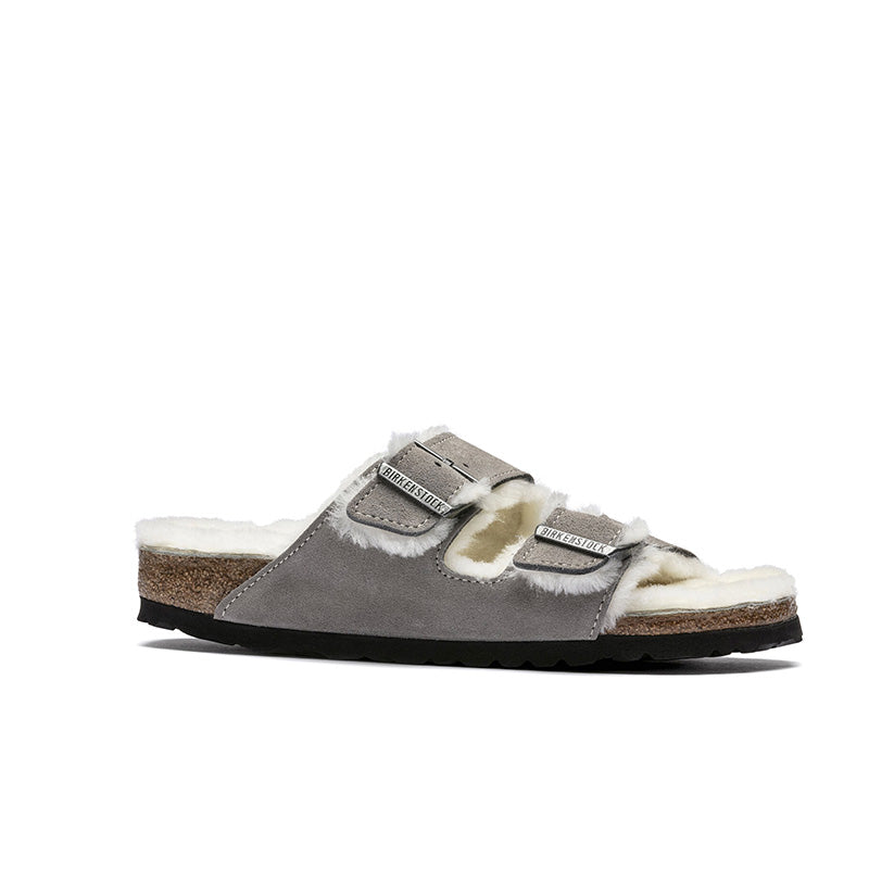 Birkenstock Arizona Soft Footbed Suede Leather Shearling Stone Coin Grey Narrow Fitting Sandals