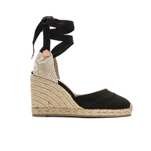 ankle tie wedge espadrilles black