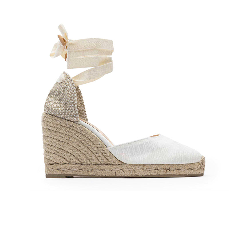 Castaner Carina 80 White Canvas Wedge Espadrilles