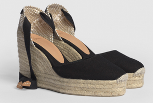 Castaner Carina 100 Black Platform Canvas Wedge Espadrilles