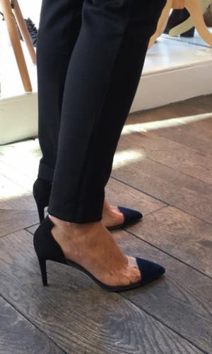 Jane Galland Navy and Black Suede and PVC Pumps