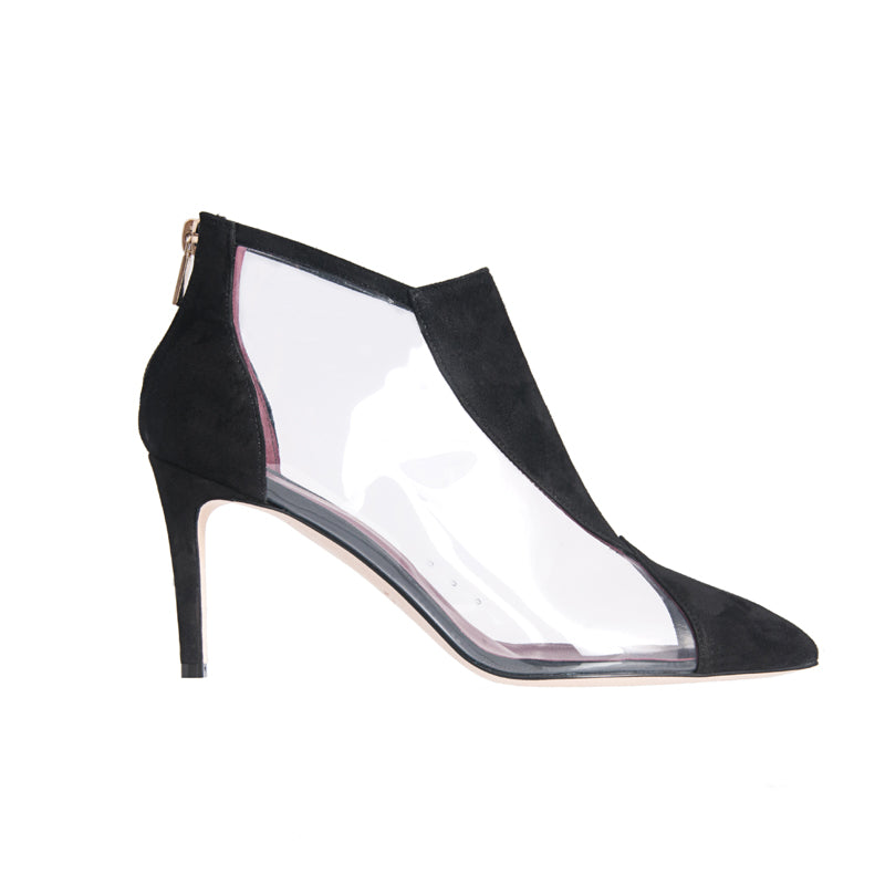 <transcy>Bottines en daim et PVC Jane Galland noires</transcy>