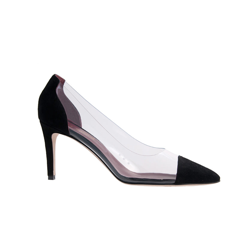 Jane Galland Black Suede and PVC Pumps