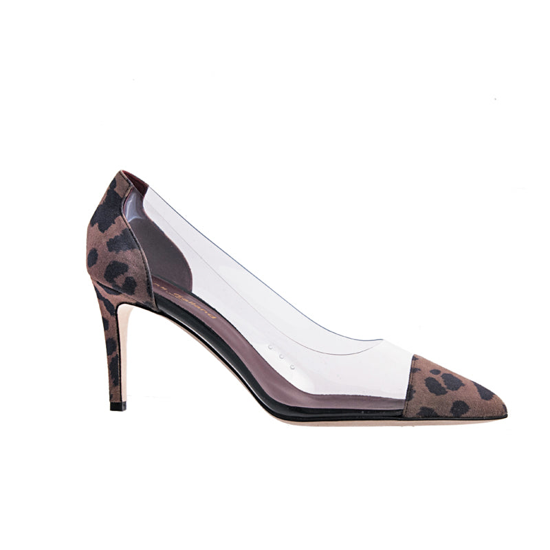 Jane Galland Leopard Suede and PVC Pumps