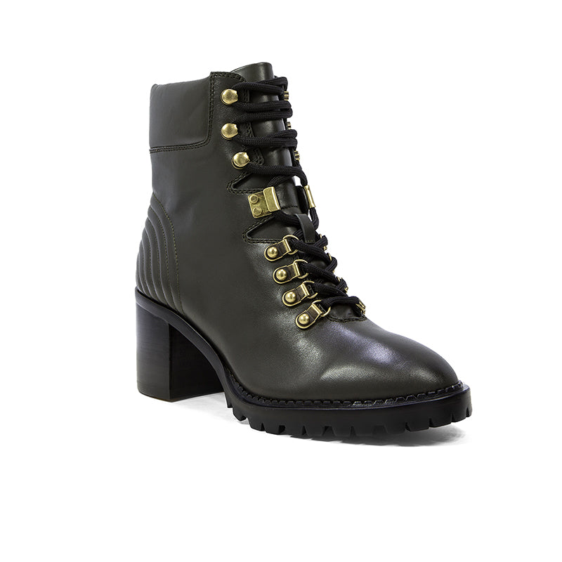 Lola Cruz Dark Green Leather Heeled Ankle Boots