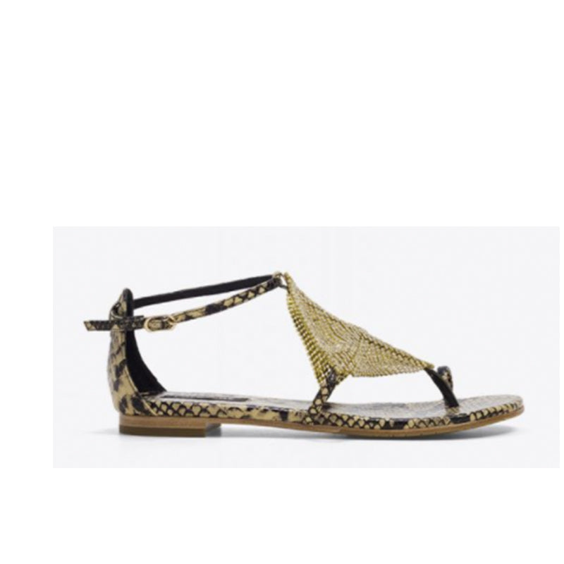 Lola Cruz Luanda Snake Leather Print and Gold Sandals