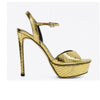 Lola Cruz Peony Gold Leather Heels Sandals