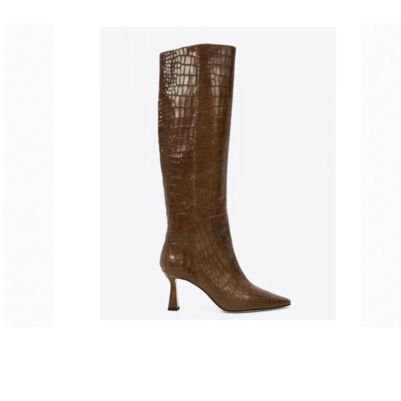 Lola Cruz Capecod Croco Effect Brown Leather Tall Boots