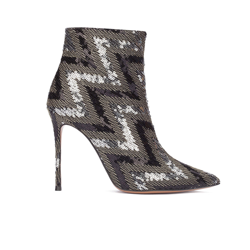 Pura Lopez Nicole Sequined High Heel 9cm Ankle Boots
