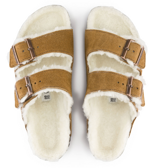 Birkenstock Arizona Soft Footbed Suede Leather Shearling Mink Narrow Fitting Sandals