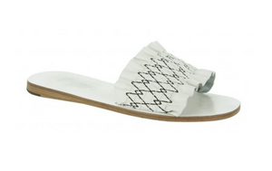 white leather slip on sandals