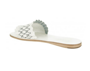 white leather flat sandals
