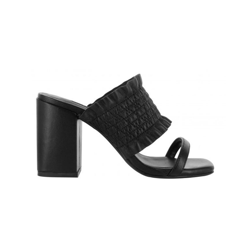 Senso Orlanda Black Leather Block Heel Sandals