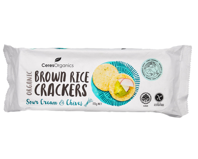Ceres Organics Brown Rice Crackers Sour Cream & Chives - Organics.ph