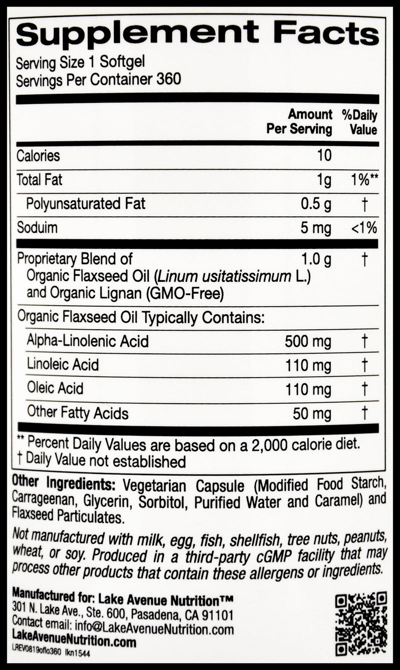 Lake Avenue Organic Flaxseed Oil & Lignan 1000mg (360 caps) - Organics.ph