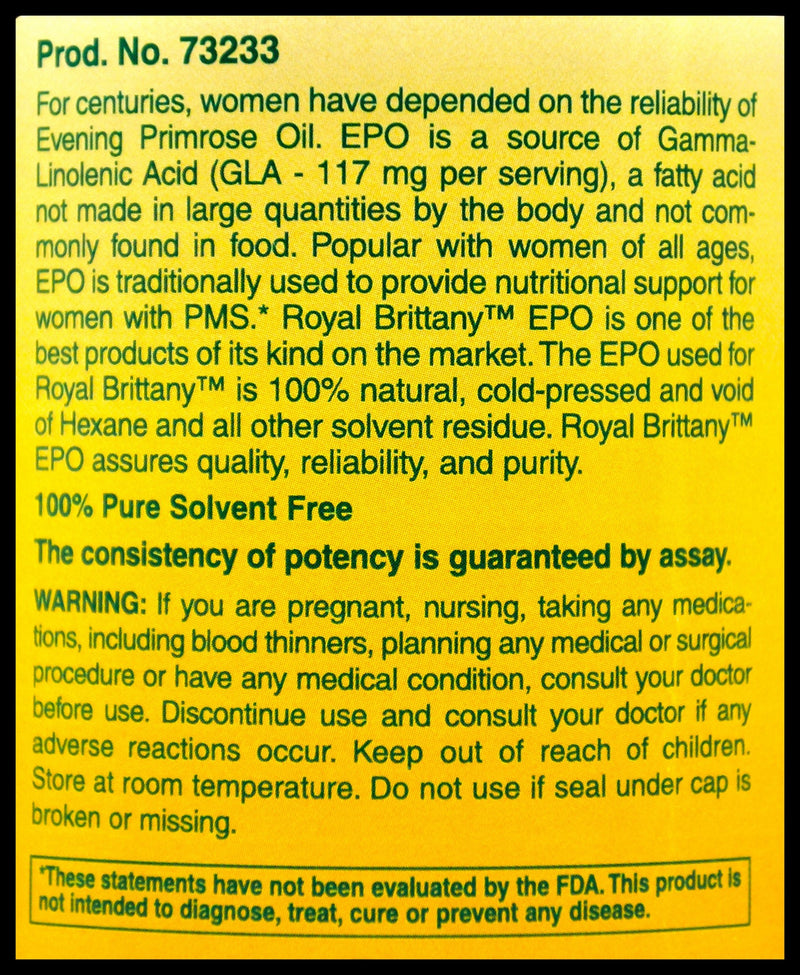 Royal Brittany Evening Primrose Oil 1300mg (120 softgels) - Organics.ph