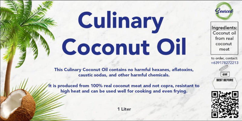Sourced Culinary Coconut Oil - Organics.ph