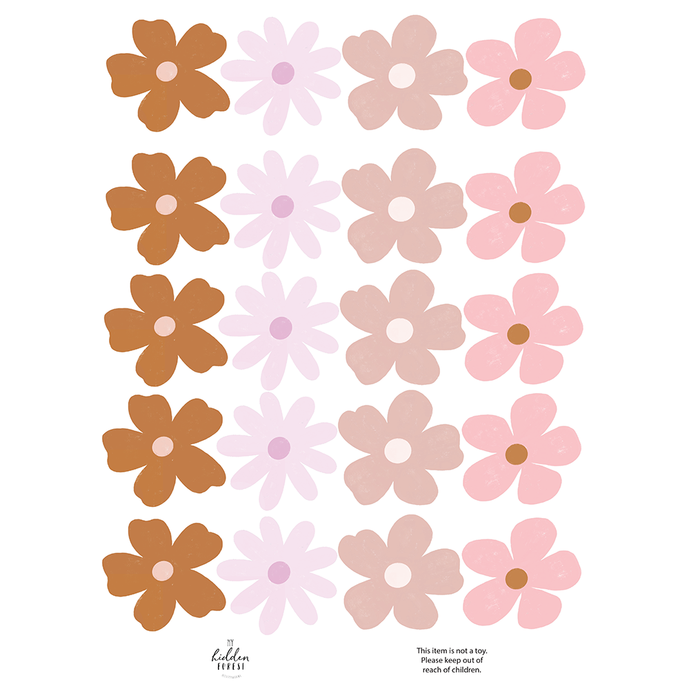 Wildflower wall decals - pop of colour