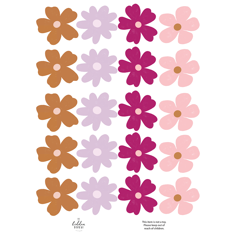 Wildflower wall decals - summer brights
