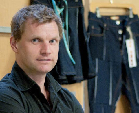 Gerry Kelly, founder of Sonas Denim, a California-made line of ethical, free spirited patchwork jeans