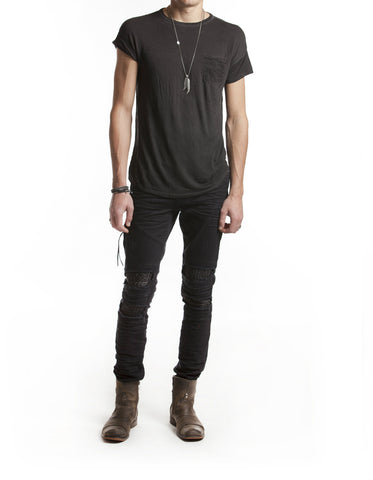 Vintage Black Waxed Coated T-shirt