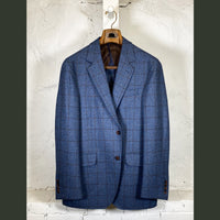 COPPLEY Blue Herringbone Sport Coat w/ Brown Check