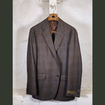 COPPLEY Brown Sport Coat w/ Orange/Blue Windowpane