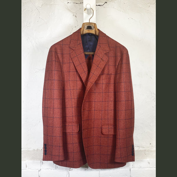COPPLEY Red Herringbone Sport Coat w/ Navy Check