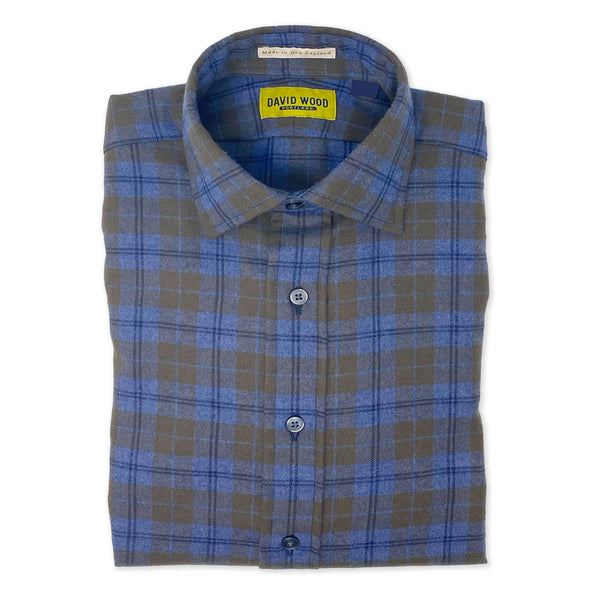 DW Blue/Brown Plaid Flannel Shirt
