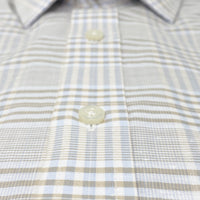 SYSTEM 75 Beige & Blue Chambray Plaid Shirt