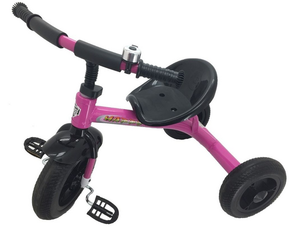 Kids Tricycle - Black & Pink with Bell