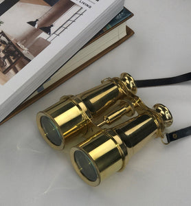 Antique Style Brass Binoculars with Leather strap