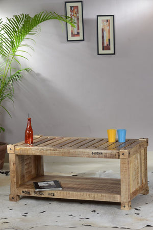 KARATU - Handmade reclaimed coffee table with shelf