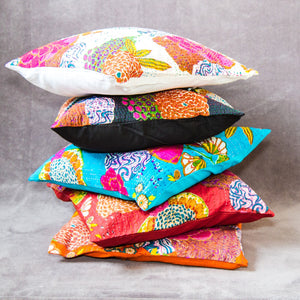 Tropical Block Printed Colourful cushion covers - Set of 2