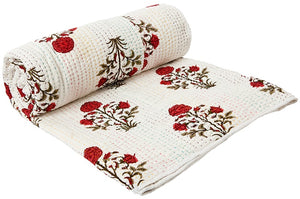 DHARLA Kantha Quilt in Red and White (large)