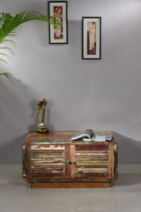 BEHO - Solid Wood Coffee table with Storage, Handmade from reclaimed shutter strips