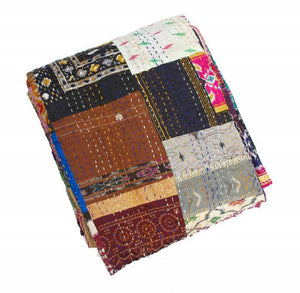 Silk Patchwork Multicoloured Hand Stiched Kantha Quilt