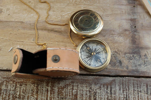 Functional brass pocket-compass with leather case