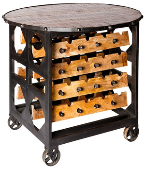 BRIX wine rack table  - handmade in reclaimed wood and metal