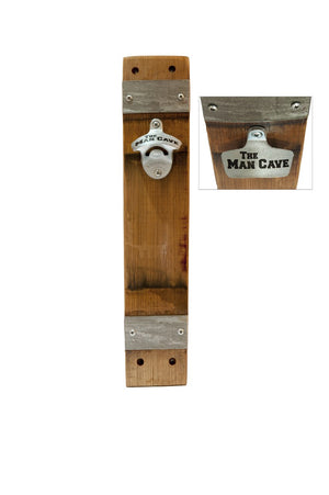 Wall-mounted beer bottle opener handmade from reclaimed solid wood - MAN CAVE