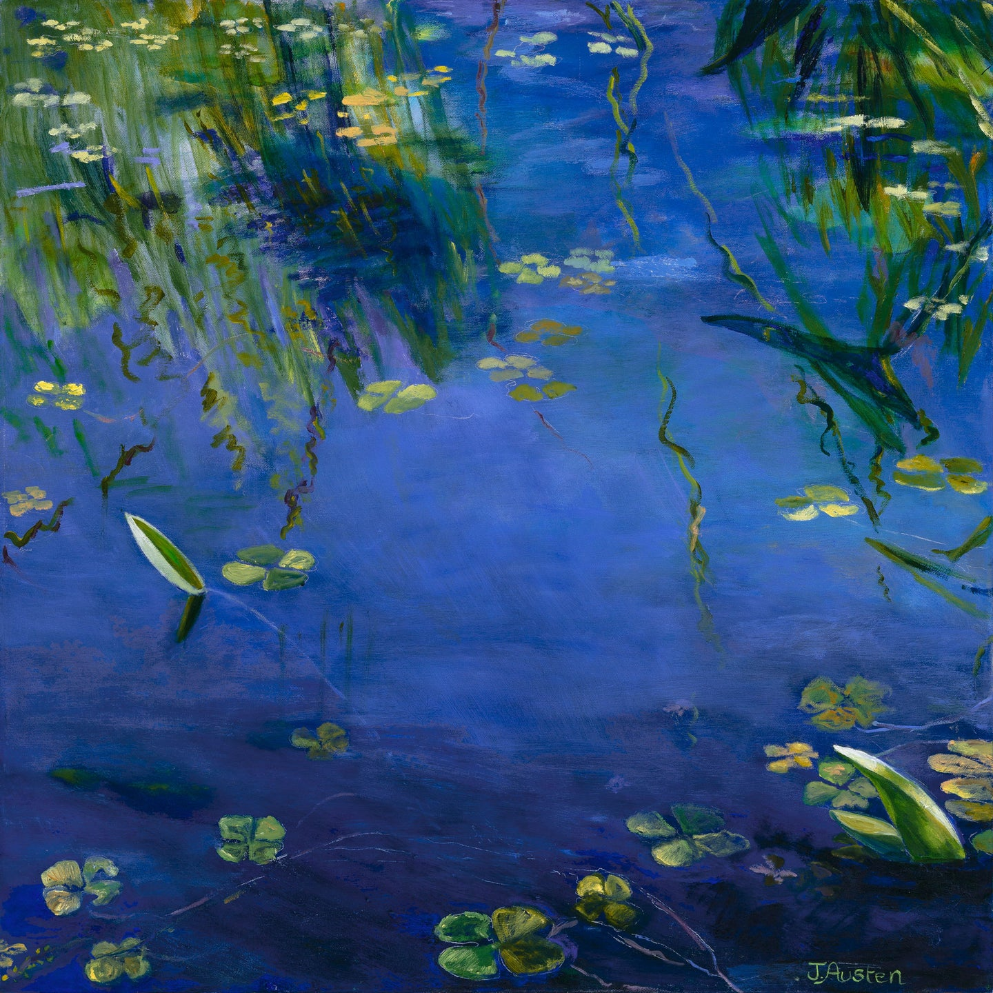 Water Lilies on Grass Reflections
