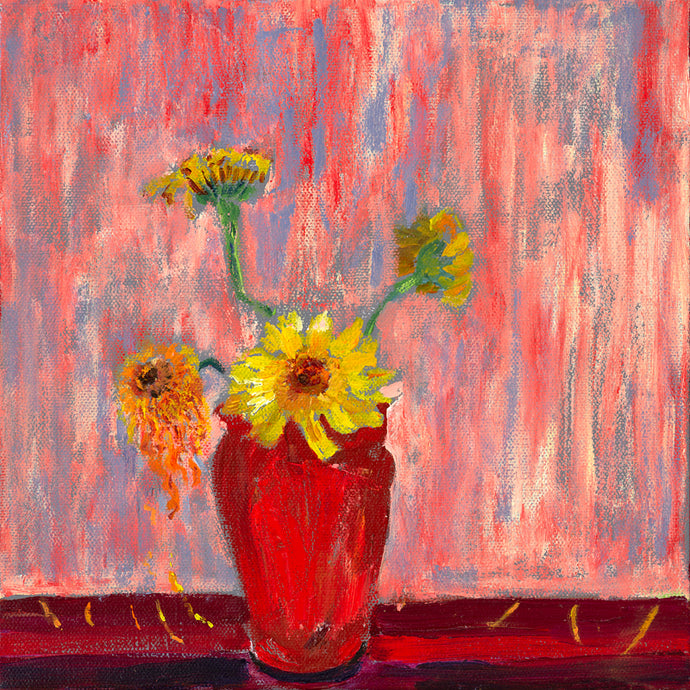 Yellow Flowers in a Red Pot
