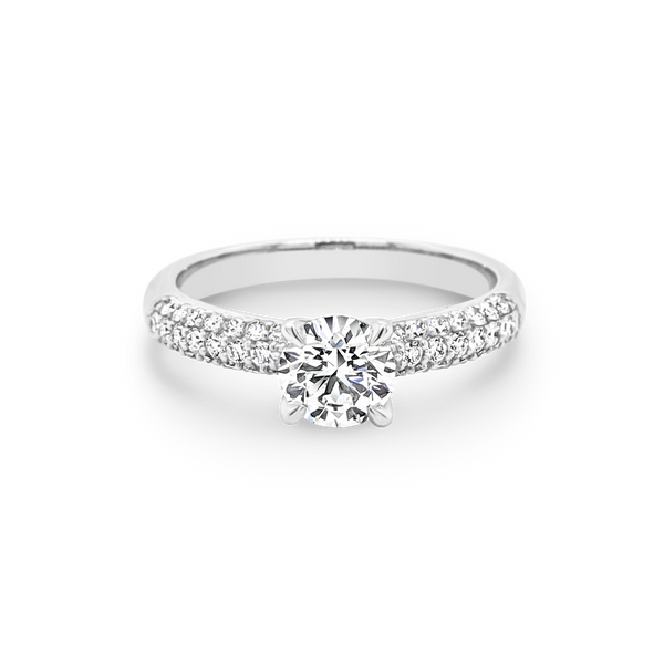 Solitaire Diamond Ring with Pave Set Shoulders