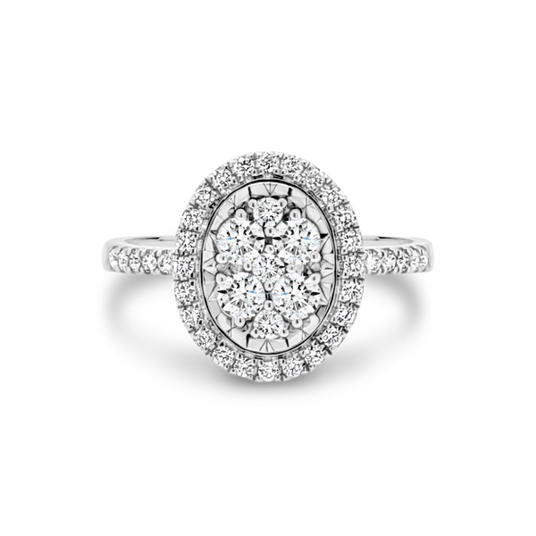 Oval Shaped Diamond Cluster Ring